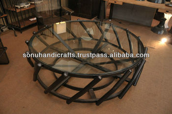 VINTAGE INDUSTRIAL IRON GLASS ROUND TABLE WITH METAL BASE