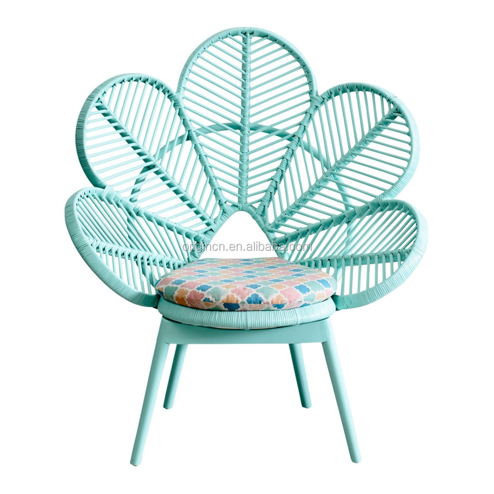 Pink And Green Cute School Furniture Flower Shaped PE Polyethylene Rattan  Peacock Chair