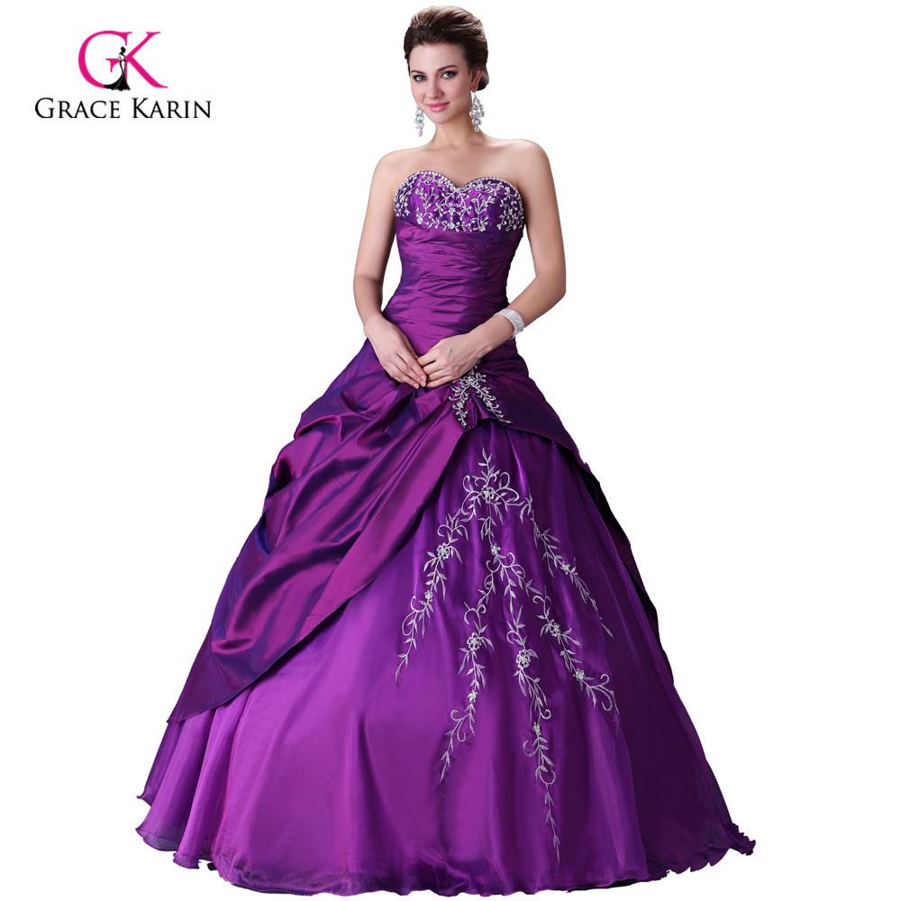 Cheap Elegant Wedding Dresses: Grace Karin Cheap Purple Cheap Elegant Bridal Gown Wedding