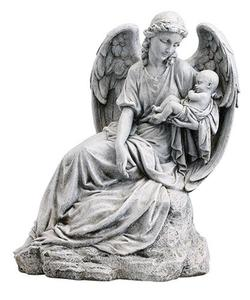 Home style decoration fiberglass angel with baby statue