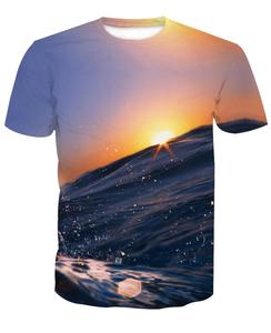 95% polyester 5% spandex custom full print sublimation t shirt men with Fashion Landscape 3D digital printed