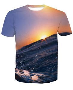 95% polyester 5% spandex custom full print sublimation t shirt men with Fashion Landscape 3D digital printed