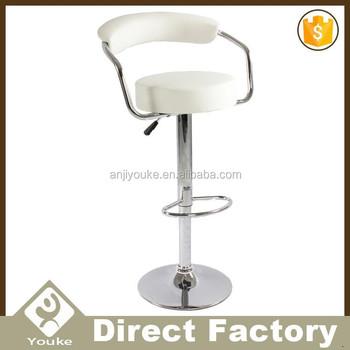 Leisure Chrome Base White Leather Bar Stool High Chair For