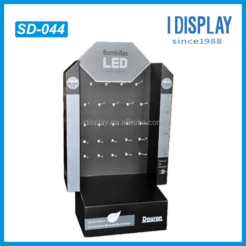 point of purchase display peg for led lights cardboard hook display rack