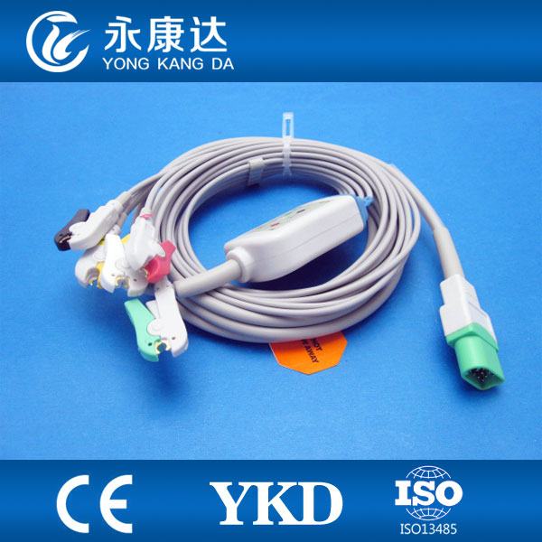 Datascope Passport V 5 lead ecg clip cable,medical TPU,CE&ISO13485certified proved Manufacturer