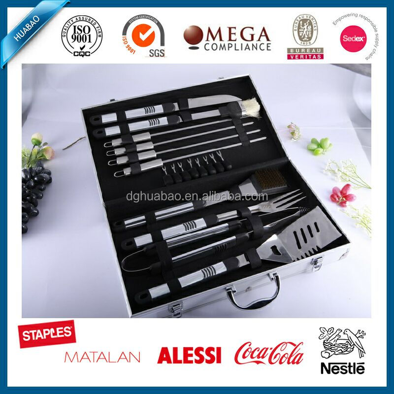 High quality new arrival hot selling 10pcs stainless steel grill bbq tool set with pp/plastic handle/3pcs bbq grill 4pcs skewer