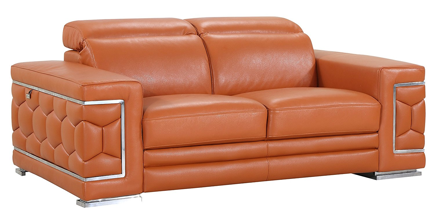 Blackjack Furniture 692-L-CAM 692-Camel-L Italian Leather Loveseat