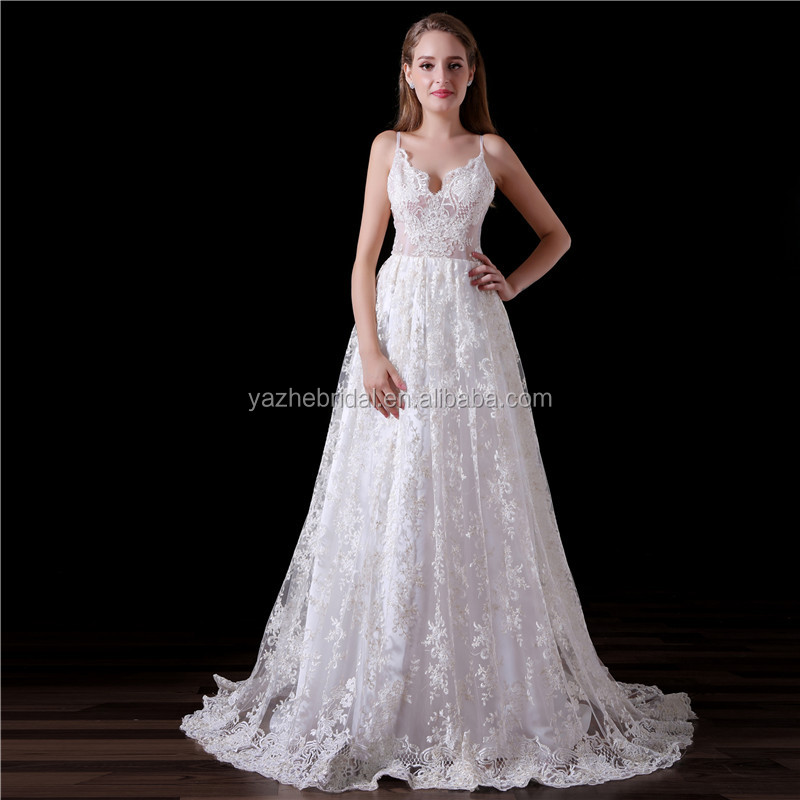 Spaghetti Strap French Lace A Line Long 2018 White See Through Sexy Beach Bridal Wedding Dresses