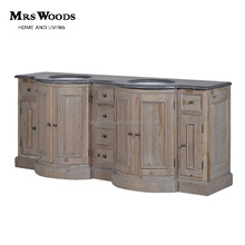 Vintage Rustic Wood Antique Double Sink Bathroom Vanity