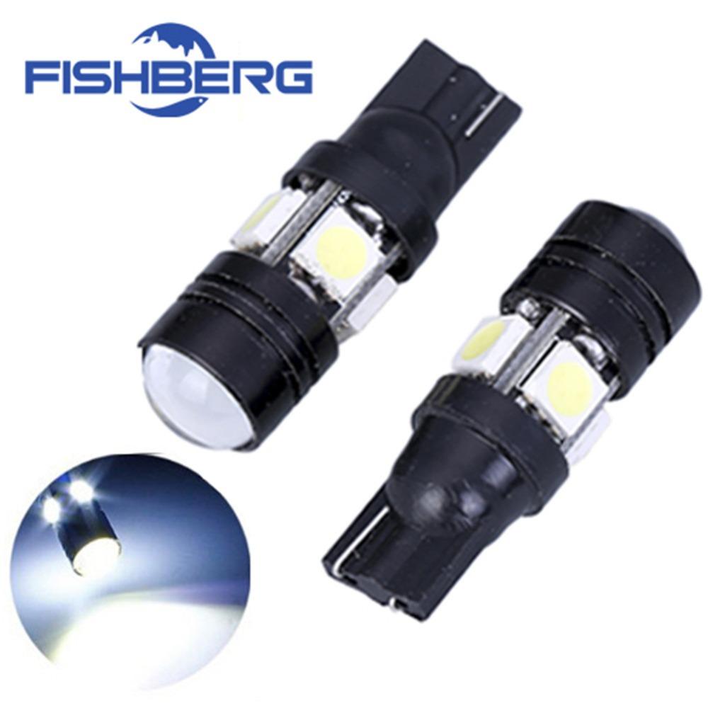2pcs/lot T10 LED W5W Light Bulbs 5050 SMD Lens 4 LED 12V
