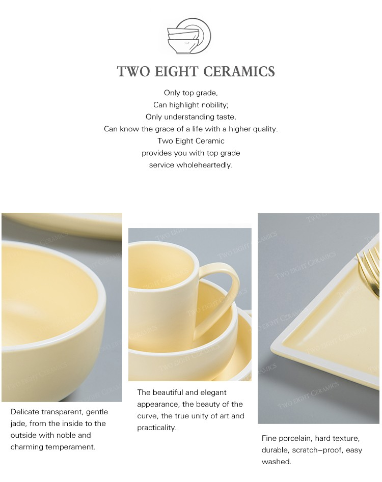 product-Two Eight-Event Catering Color Banquet Hall Plate Sets, Piatti Per Eventi Yellow Dinnerware