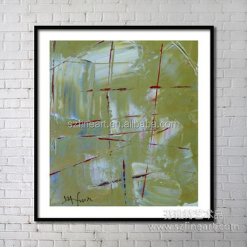 Hot Design glass painting abstract wall painting framed Art work
