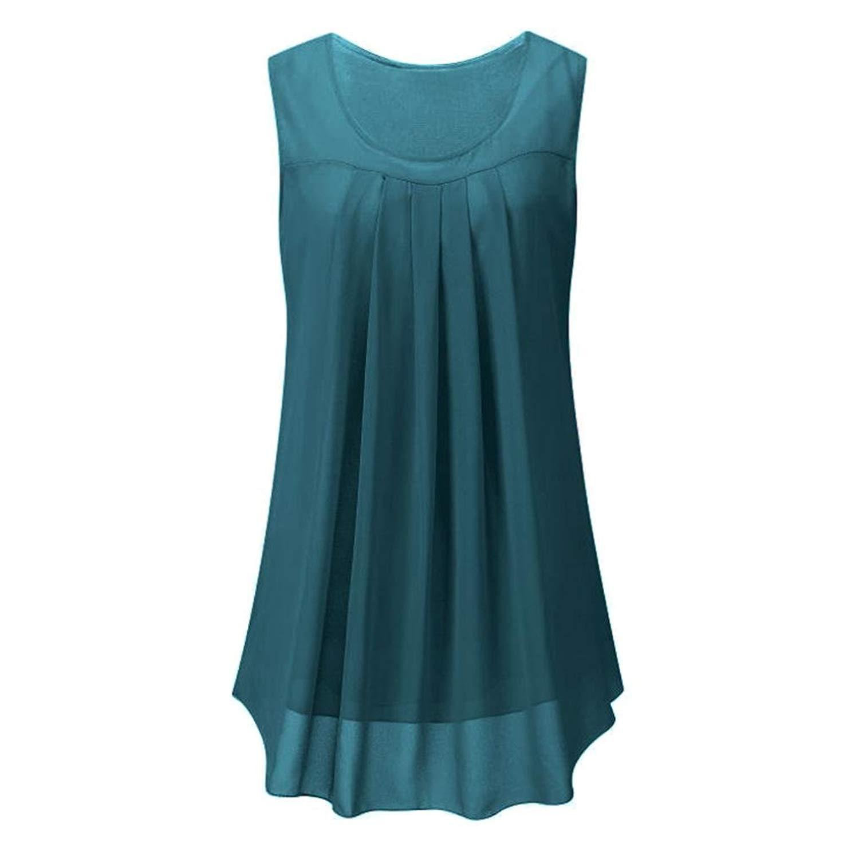 Siaokim Tops For Women Hot Sale Women Tunic Tops Fashion Solid Sleeveless O Neck Chiffon Vest Blouse