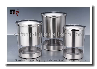 Fengxing 3 Piece Stainless Steel Coffee Tea window Canister