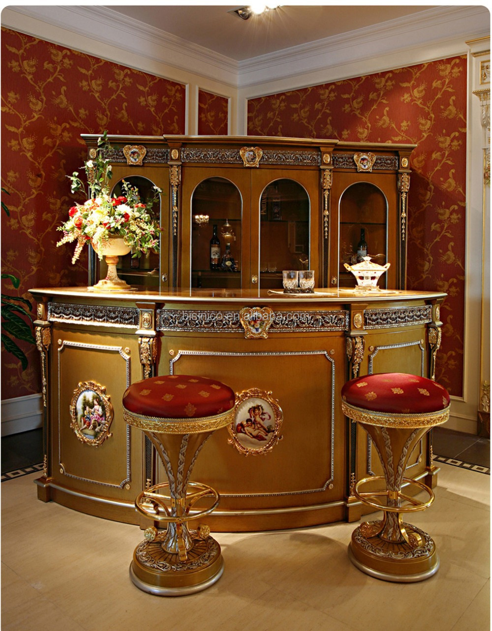 Luxury French Louis Xv Style Golden Bar Furniture European Classic Corner Mini Bar Antique Bar