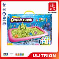 Education toy moon sand play table, mini beach sand castle molds toy