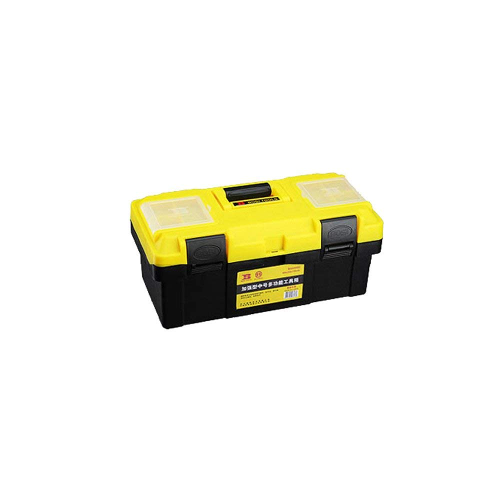 Hardware Plastic Toolbox Maintenance Toolbox Portable Storage Box (Color : Yellow black, Size : 12.5 inches)