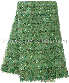 Green color Fine french lace