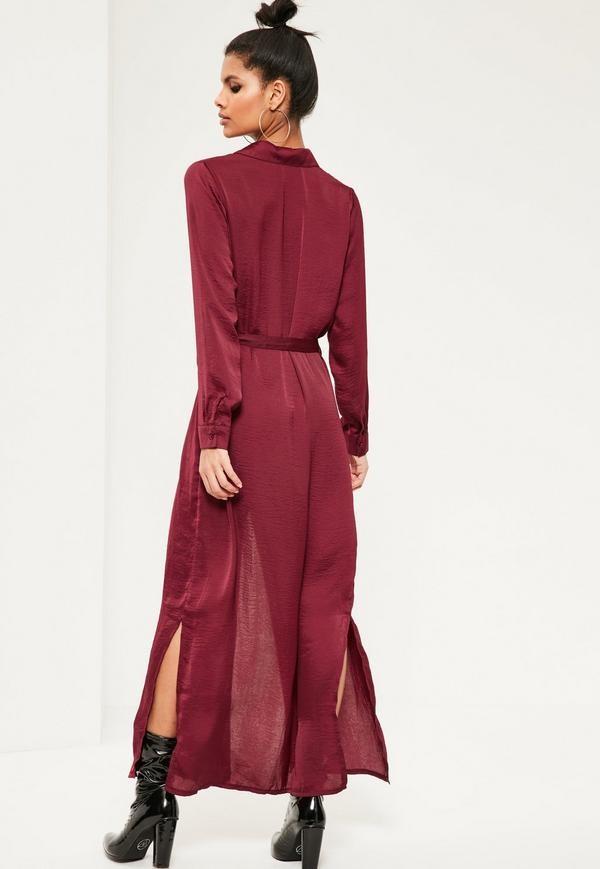 bd2173277f31 HSD3049 New fashion design burgundy satin maxi shirt dress long sleeve  blank t-shirt dress