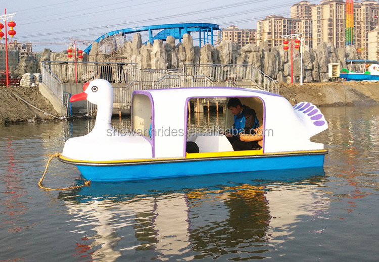 Hot selling 4 seats water park fiberglass foot power adult pedal boat