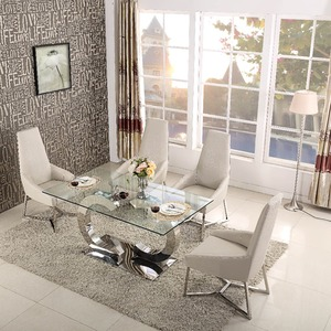 Royal hot sale unique metal bases glass top dining table