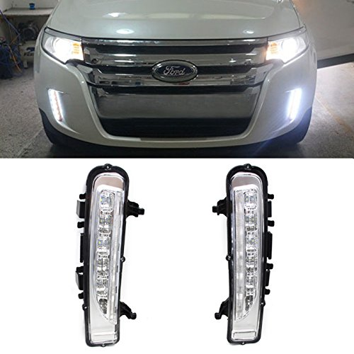 iJDMTOY OEM Fit White/Amber Switchback LED Daytime Running Lights w/ Turn Signal Lights Exact Fit For 2011-2014 Ford Edge