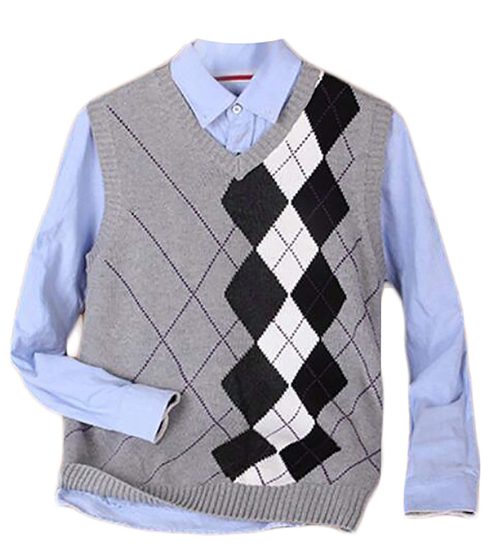 3638c091d3e81b Get Quotations · Cruiize Men s Slim Argyle Pattern V Neck Knitted Sweater  Vest