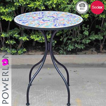 Ornate Mosaic Kd Table Wrought Iron