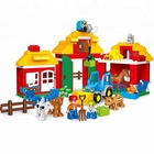 ABS Plastic 123 pcs happy farm educational toy building blocks toys with legoing duplo toy