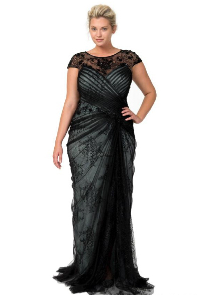 Plus Size Dresses 2015 Black Lace Cap Sleeves Sheer Mother Dress Sheath Special Occasion Gown Long Vintage x01