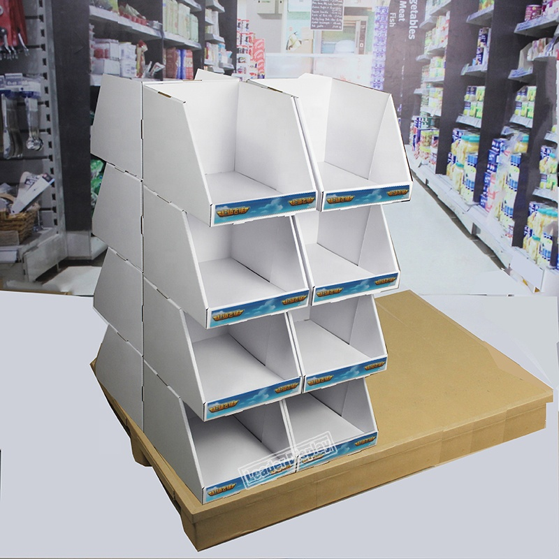 Cardboard Paper Stack Display 1/4, 1/2, full  plastic  Pallet Display Stand