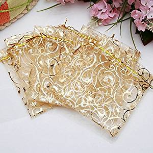 Tinksky 100pcs 9*12cm Cute Eyelash Pattern Drawstring Organza Wedding Favor Gift Bags Candy Bags Jewelry Pouches (Golden)
