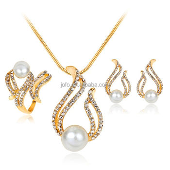 fc0a98b8eb Luxury Brand Imitation Pearl Necklace Earrings Wedding Jewelry Sets Vintage Fashion  Crystal Bridal Jewellery Set for