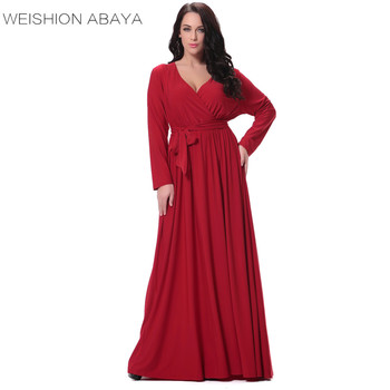 Ws6008 Turkish Fashion Plus Size Big Women Maxi Dress Pure Color