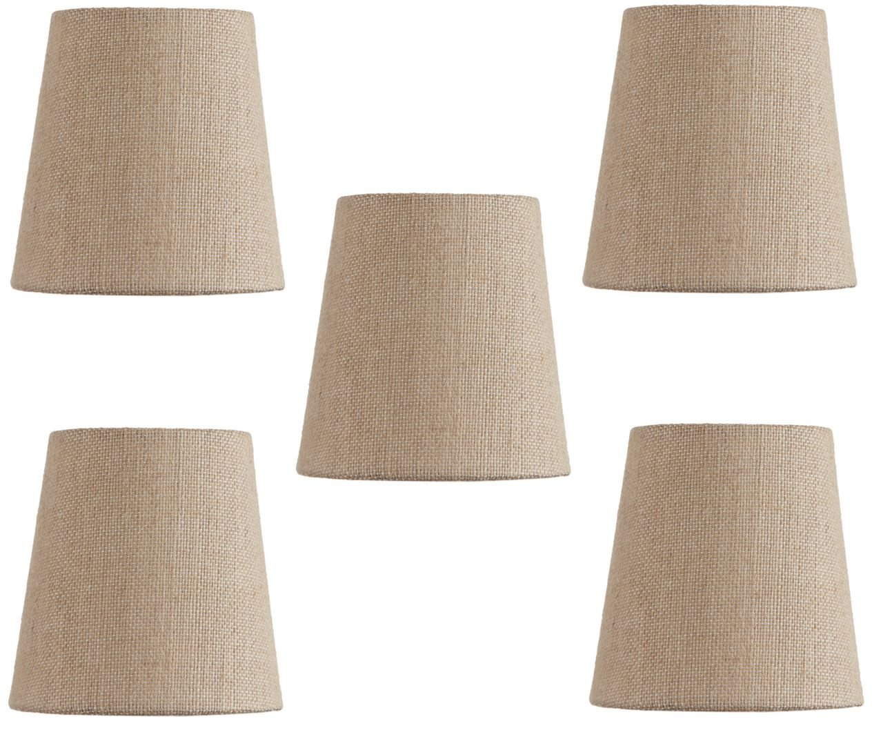Mini Chandelier Shades Clip On Small Lamp shades set of Five Beige linen