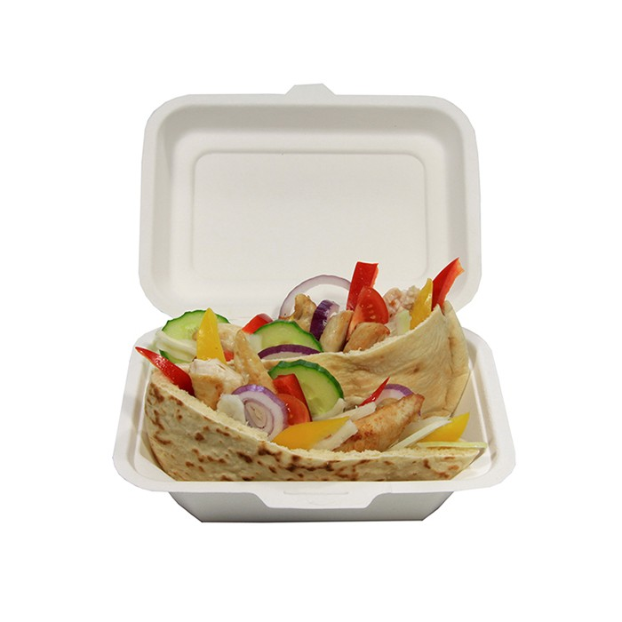 8'' Earthchoice 100% Compostable Bagasse  Pulp Clamshell Dinner Box