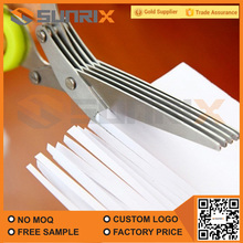 Creative Innovative Designed 5 Blades Stainless Steel Types Of Multi-Purpose Kitchen Scissors