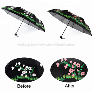 Boys Girls Anti UV Color Changing Cute Cartoon Pictures Clear Plastic Small Folding Umbrella For Kids
