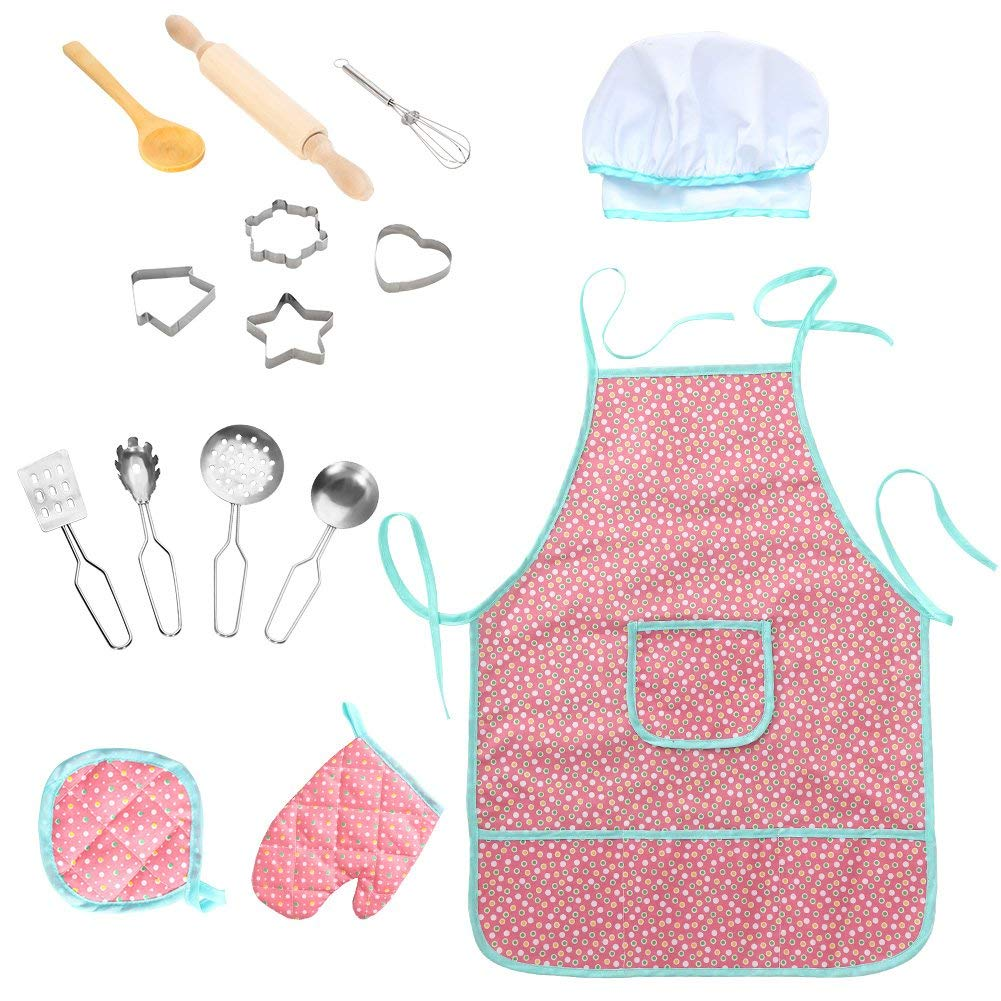 FunsLane Waterproof Apron 15Pcs Chef Set for Kids with Chef Hat and Other Accessories, Cooking Costume Play Set for Toddler Career Role Play Pretend Play Gift, Kitchen, Art Painting, Classroom