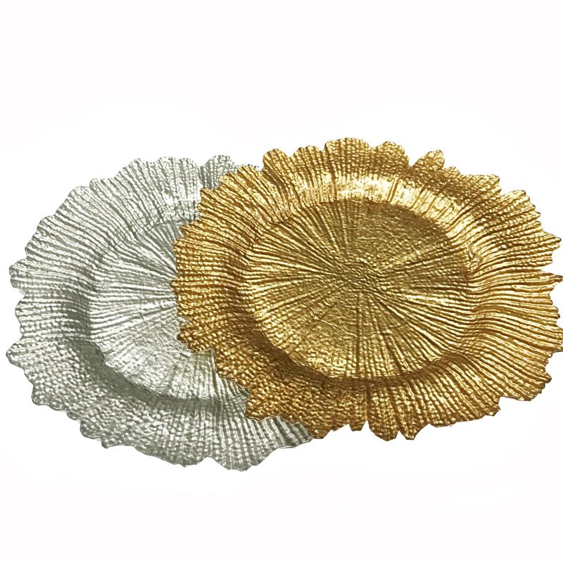 PZ29000 event printed decoration reef gold glass charger plate