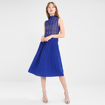 Wholesale Clothing Blue Pleated Dress Women