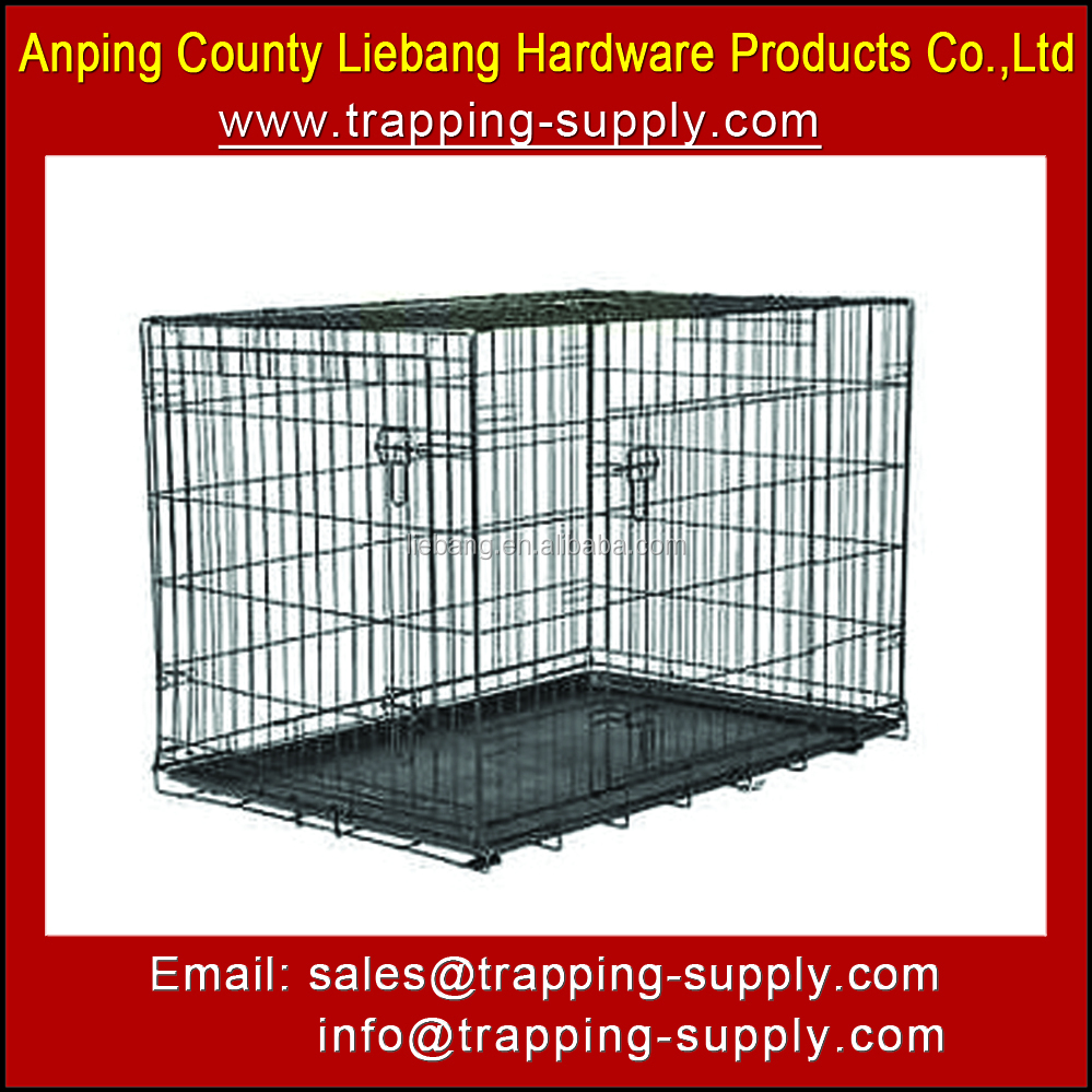 Black Welded Wire Mesh Dog Crate Large Kennel Pet Cage