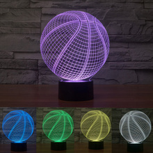7 Colour Gifts Sport Basketball 3D LED Night Light Elstey Touch Switch Table Desk Lamp