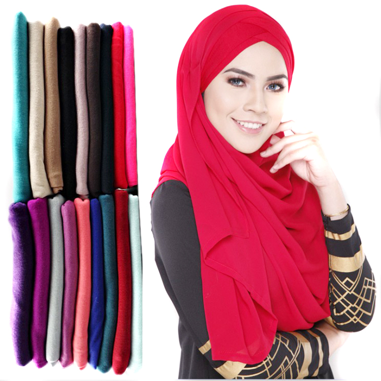 Plain color yarn knit polyester muslim hijab, wholesale hijab