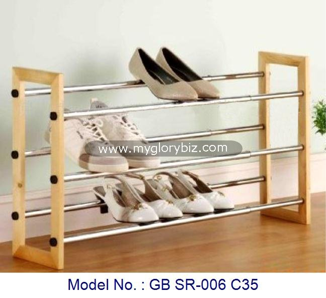 Muebles modernos de metal y de madera simple zapatero for Zapateras de madera sencillas
