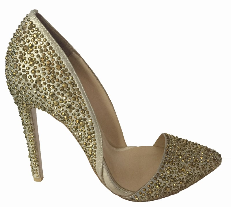 High heel women leather crystals shoes