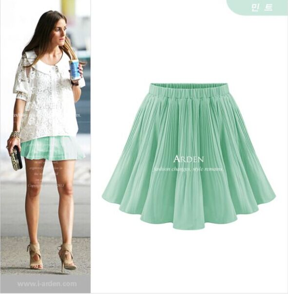 9ef1e5fa195 513 5 Colors Xl-5xl Plus Size Pleated Casual Solid Chiffon Skirts For Women  Black White Pleated Mini Skirt Summer Style