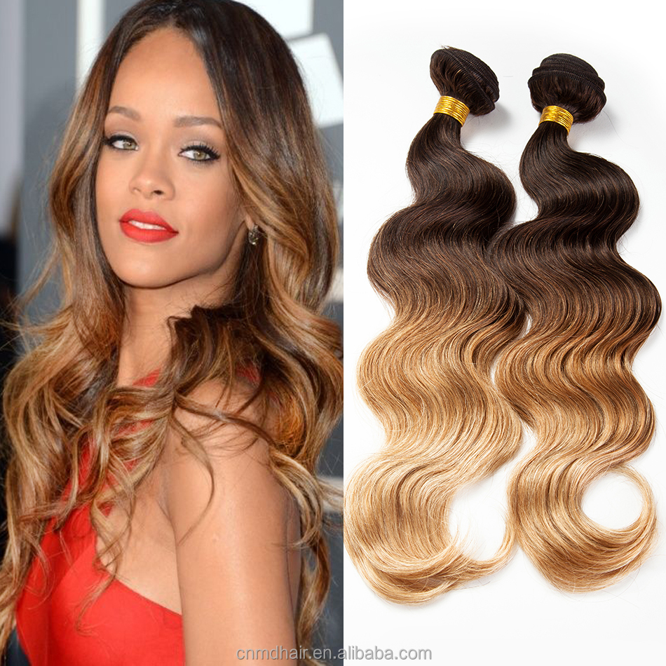 43027 Ombre Remy Hair Weave Dark Roots Brown Blonde Hair Buy