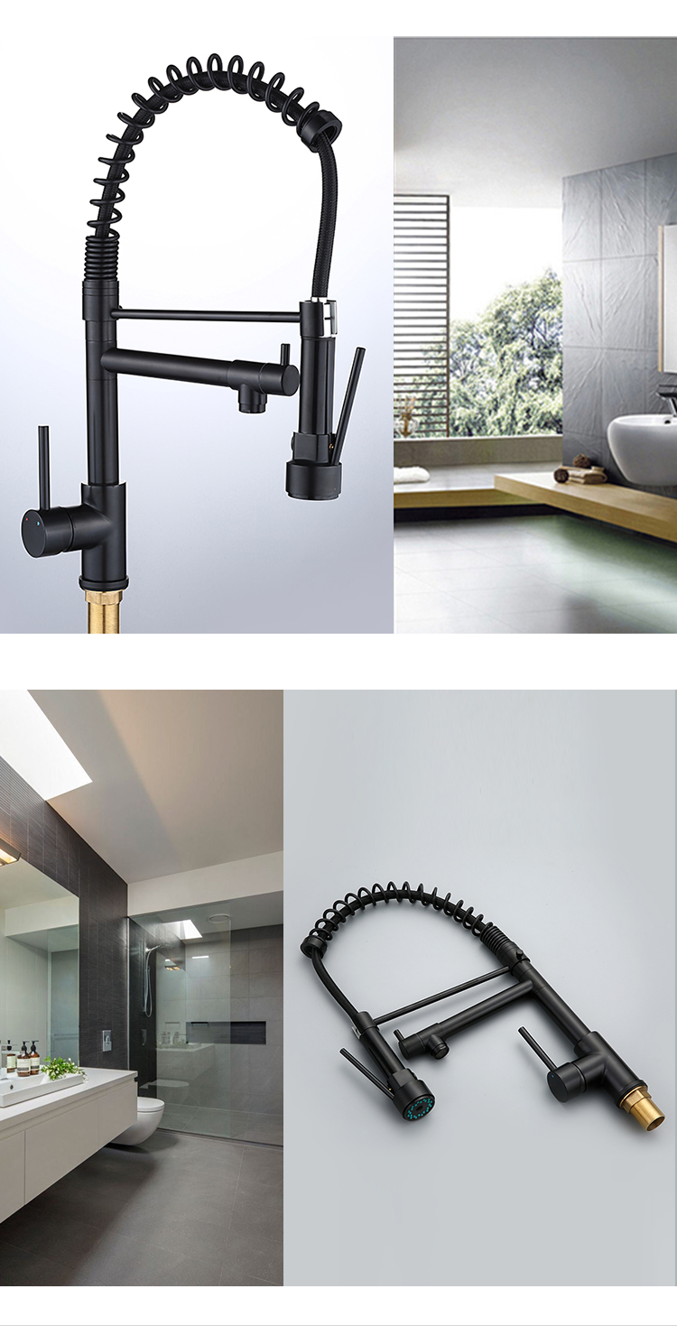Well-priced black pull out spring mixer double spout kitchen faucet