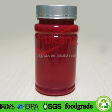 150cc red colored PET plastic pill bottle and round shaped container with aluminum screw top lid